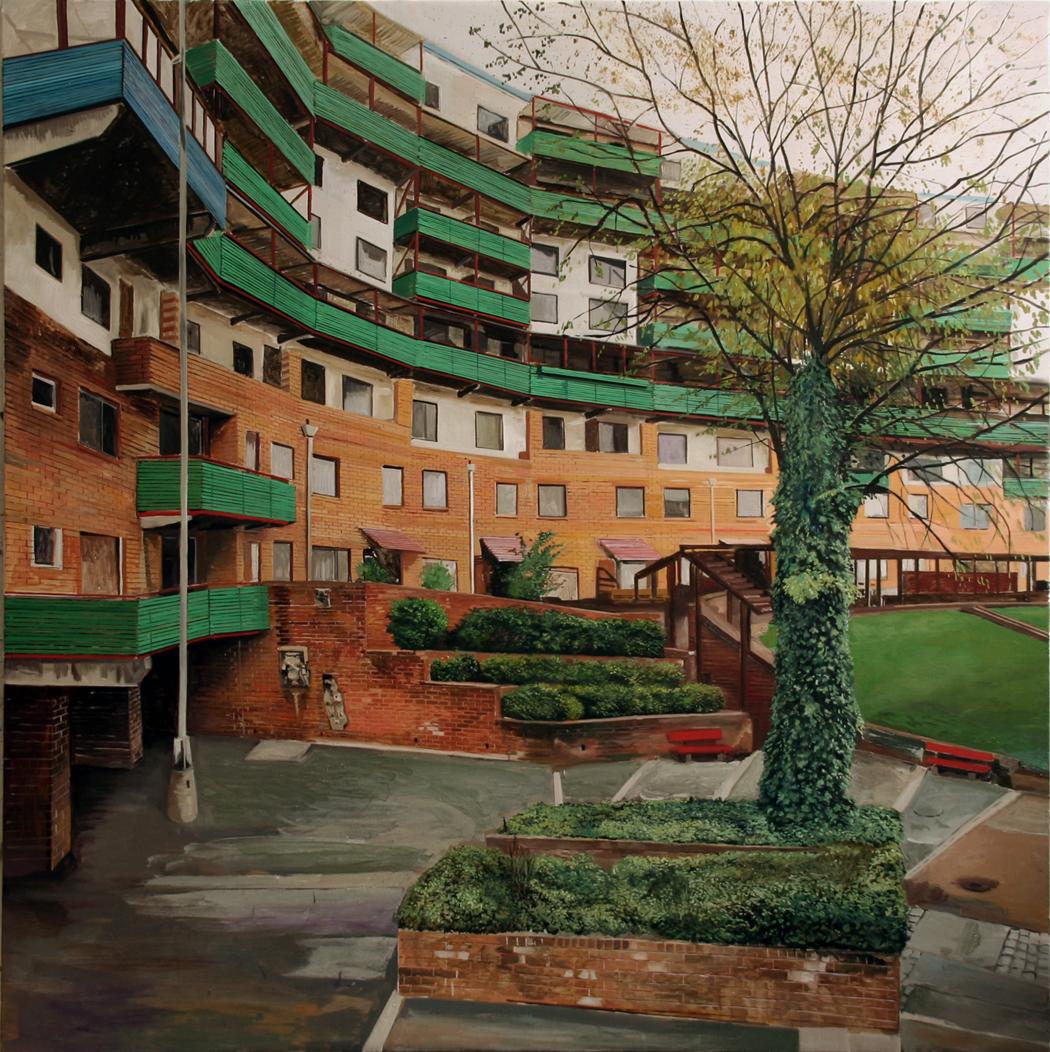 Yves Bélorgey Byker Wall (3) Architecte: Ralph Erskine Construction: 1973-78 Newcastle-upon-Tyne Novembre 2006 Huile sur toile