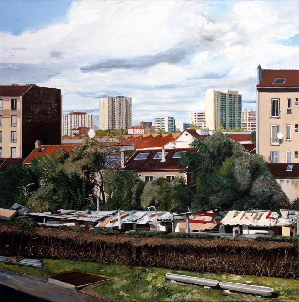 Yves Bélorgey Vue des Entrepôts de la SERNAM à Pantin, 2010 Oil on canvas 240 x 240 cm