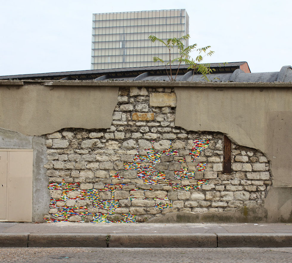 cubes légos ville mur